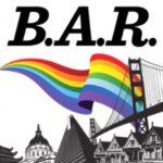 A rainbow flag over the San Francisco Golden Gate Bridge from the Bay Area Reporter logo.